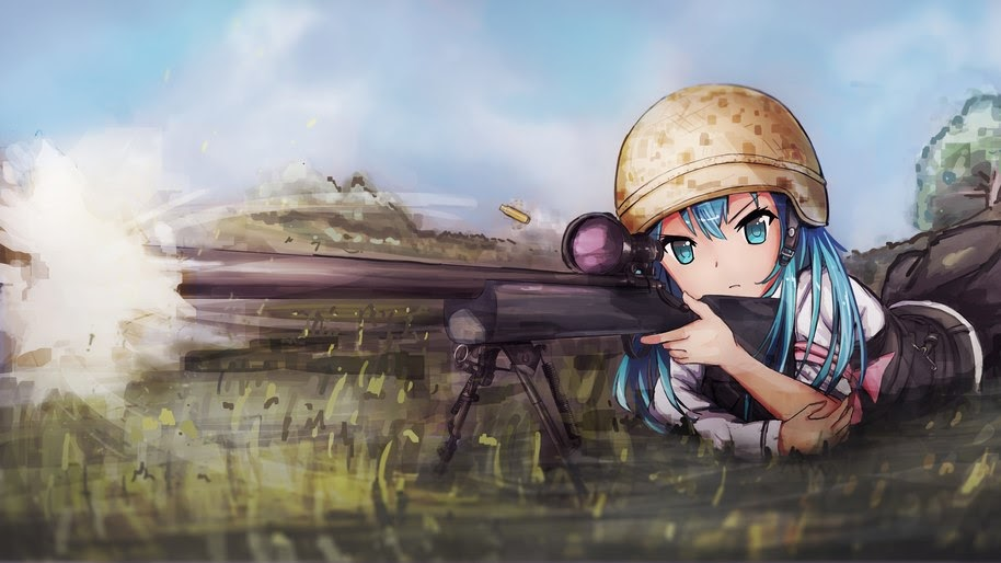 Pubg Girl Anime Sniper Rifle 4k Wallpaper 148