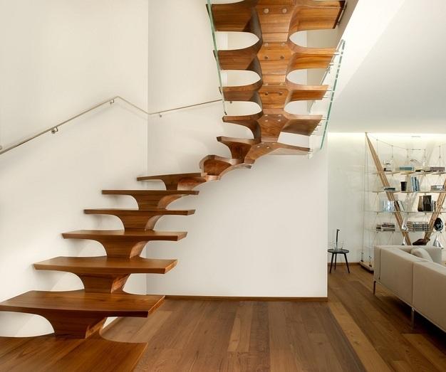 escalera moderna madera