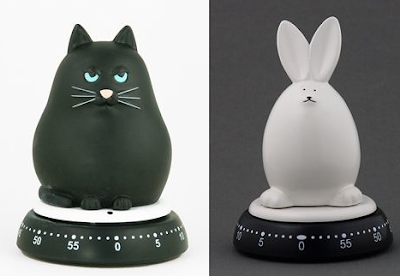 cat and rabbit shaped kitchen timers