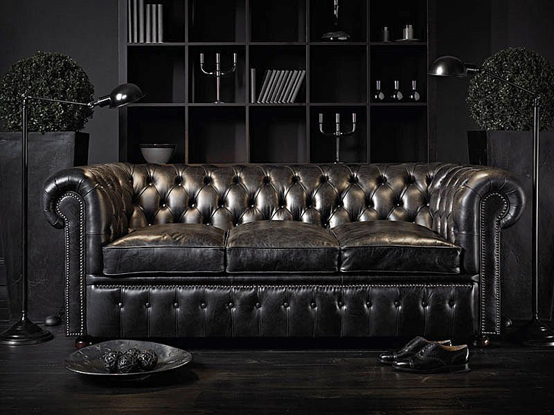 Black Leather Couch Living Room: Chesterfield, Chesterfield Sofa