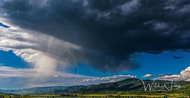 Lightning hitting Ski field,Steamboat Springs Colorado