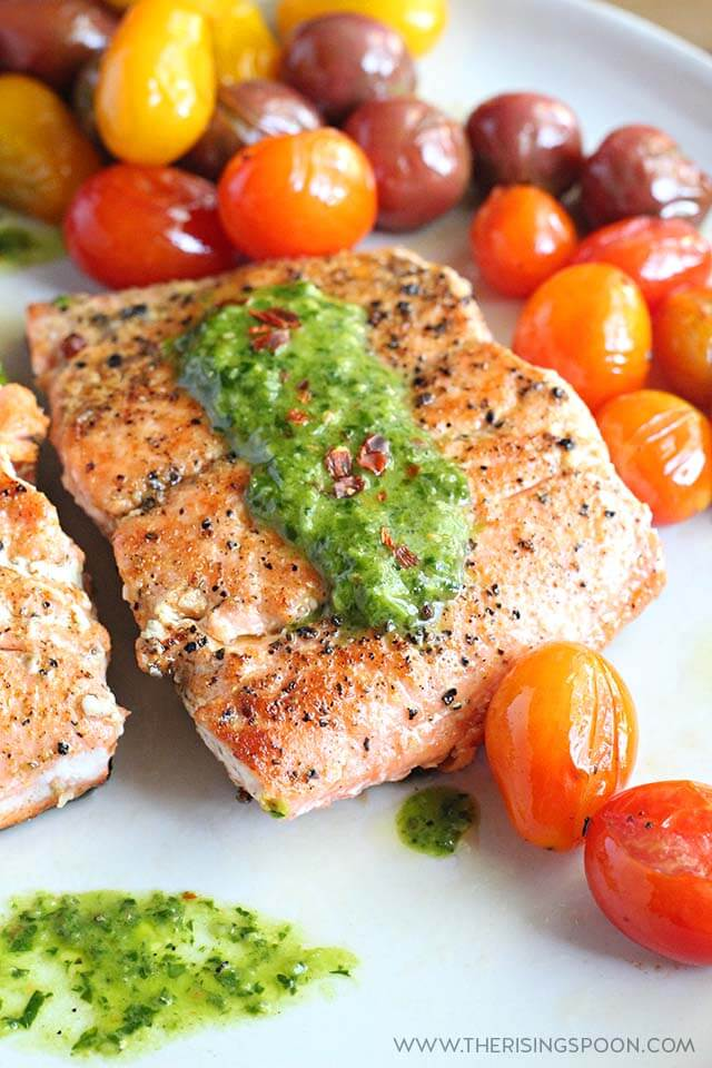 Pan-Seared Salmon with Chimichurri Sauce (Gluten-Free, Paleo & Whole30)