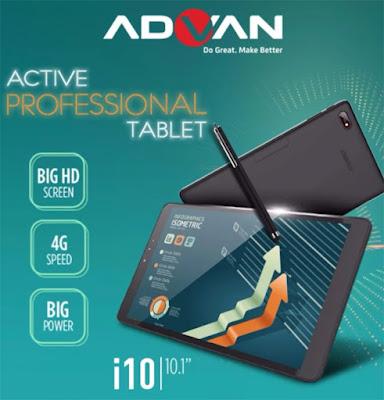Spesifikasi Advan i10     Tablet ini memiliki layar berukuran super luas 10.1 Inch yang memiliki kenyaman dan keleluasaan yang ekstra nyaman kecenya layar ini sudah memiliki kenyamanan untuk di pandang yang baik dengan resolusi 1280 x 800 pixel serta menggunakan teknologi IPS capacitive touchscreen sayangnya dengan dimensi layar yang luas belum dilengkapi dengan lapisan anti gores bawaan      Sektor dapur pacu smartphone ini menjalankan sistem operasi Android Nougat 7.0 menggunakan prosesor Quad-core 1 Ghz dengan chipset MediaTek MTK MT8735P yang dilengkapi dengan RAM 2 GB cukup responsif sih sob namun tetap akan menemukan gejala ngelag dikit ROM memiliki ukuran 16 GB yang dapat di ekspansi menggunakan microSD hingga 32 GB      Untuk kamera tablet ini memiliki 2 buah kamera depan dan belakang yang sama-sama baiknya kamera depan dan belakang sama-sama menggunakan kamera berukuran 5MP yang dilengkapi dengan LED Flash untuk video call cukup nyaman dengan bantuan pencahayaan dengan layar yang luas tentu konsumsi baterai sedikit banyak dan untuk mengimbanginya dilengkapi dengan baterai berukuran 6.000 mAh yang luas dan cukup awet untuk digunakan seharian  Kelebihan   Desain terlihat sangat keren dan stylish sehingga mampu memberi percaya diri      Referensi  http://rakhatechno.com/harga-advan-i10/