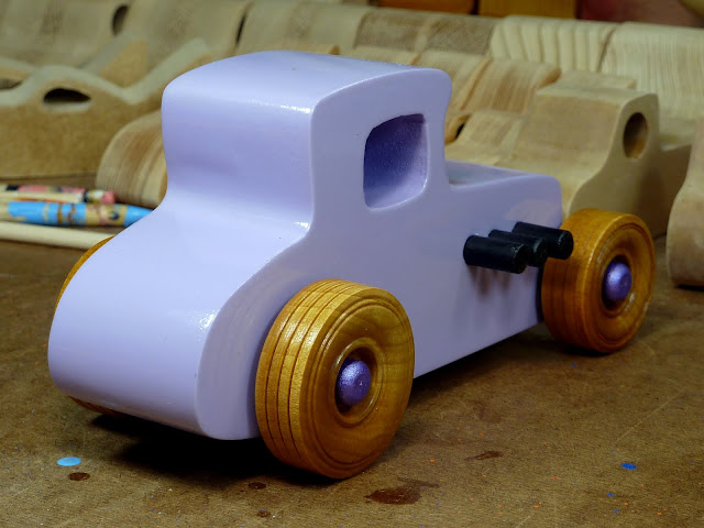 20170522-190228 Wooden Toy Car - Hot Rod Freaky Ford - 27 T Coupe - MDF - Lavender - Amber Shellac - Metallic Purple 05