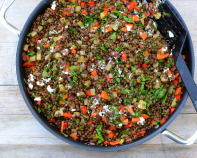 Warm Lentil Salad with Spinach & Goat Cheese, another easy, delicious meal prep salad ♥ AVeggieVenture.com.
