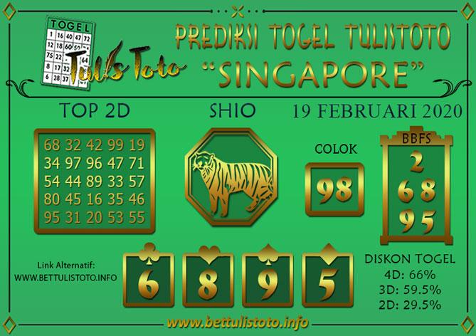 Prediksi Togel SINGAPORE TULISTOTO 19 FEBRUARI 2020