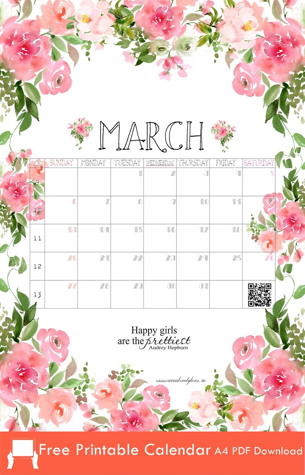 Printable Calendar March 2016 A4 PDF