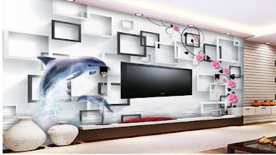 gambar motif wallpaper ruang tamu