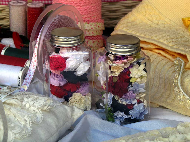 Jars of small fabric flowers, Livorno