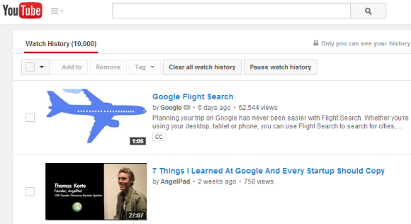 how to look at search history on youtube