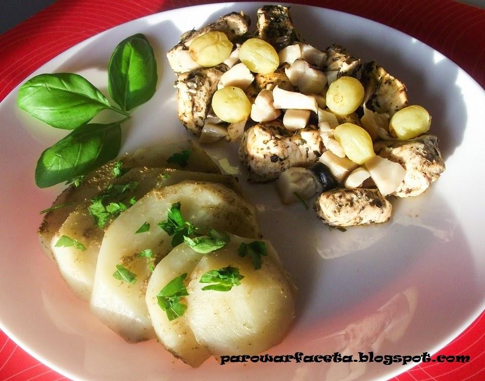 kurczak z ziemniakami, super obiad z parowaru