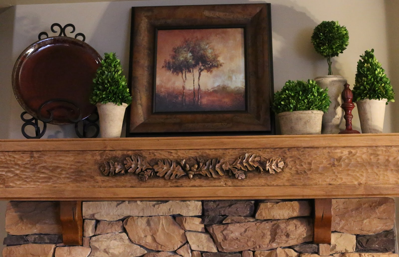 Decorated Mantel: Hand-Carved Fireplace Mantel