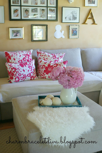 Ralph Lauren fuschia flowers down pillows ottoman tray hydrangeas