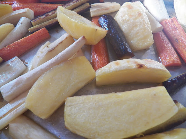 Roasted veggies for Roasted Potato and Heirloom Carrot Soup