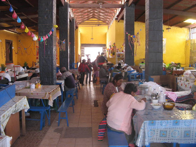 dining hall at the Chivay market, Peru