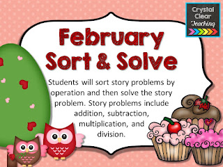 February Sort and Solve Story Problem task cards