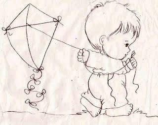 desenho de menino com pipa para pintar em fraldas