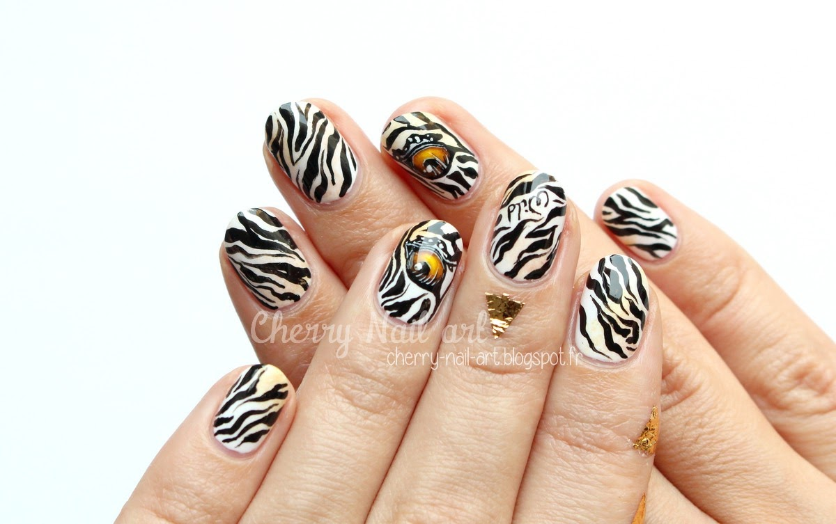 nail-art-oeil-animal-zèbre-tigre