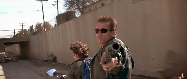 Arnold Schwarzenegger and Edward Furlong in Terminator 2: Judgment Day.