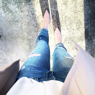 Paige Denim Distressed Skinny Jeans and Nine West nude pumps