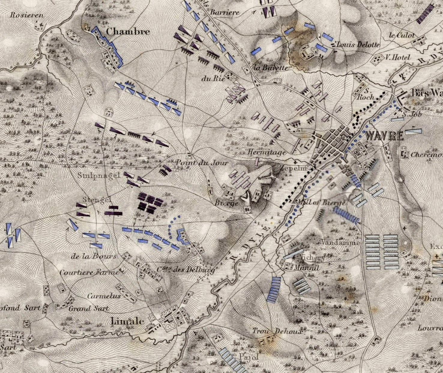 Wavre Battlefied Map designed by Johnston