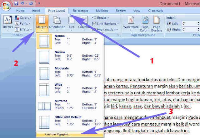 Cara Mengatur dan Membuat Margin di Word 2003 2007 dan 2010