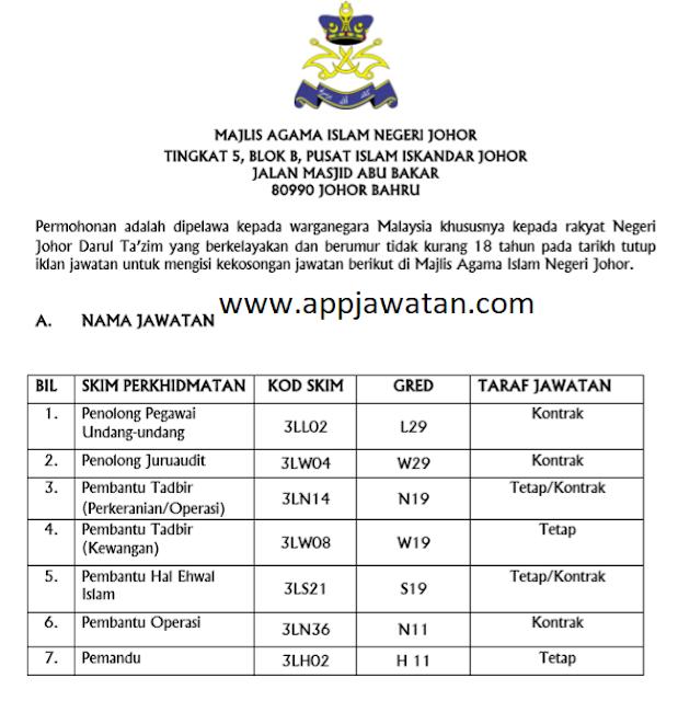 iklan jawatan Majlis Agama Islam Negeri Johor (MAIJ)