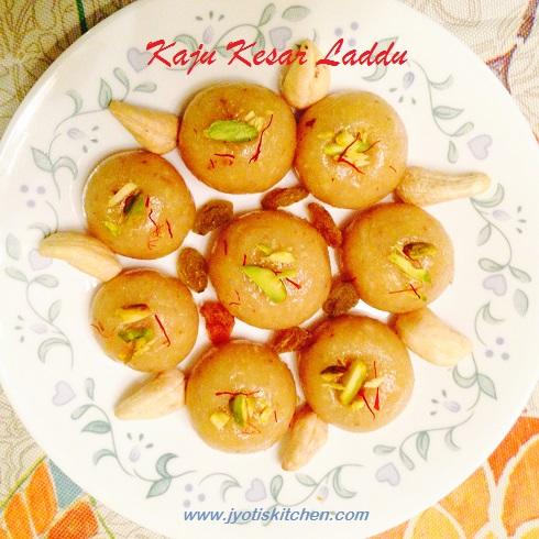 Kaju (cashew) Kesar (saffron) Laddu Recipe with step by step photo