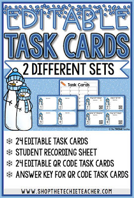 EDITABLE winter themed task cards with and without QR Codes. Students recording sheet and answer key included. Can easily be adapted for any grade level and content area!