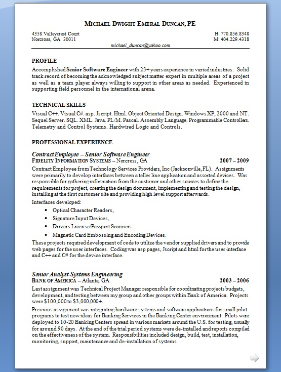 software engineer proper resume format in word free download