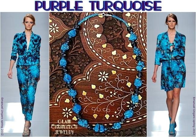 Glam Chameleon Jewelry turquoise and dark purple crystals necklace