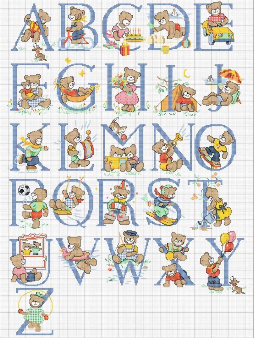 Bordando mimos alfabetos for Alfabeto a punto croce per neonati