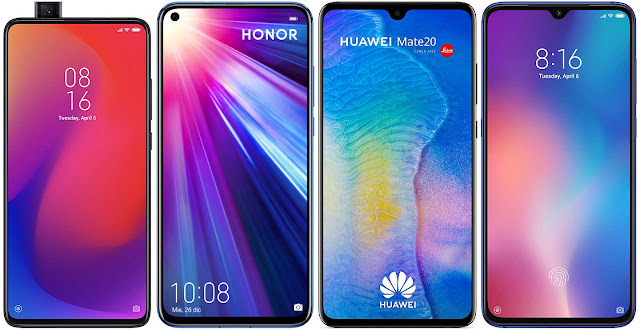 Xiaomi Mi 9T Pro 64G vs Honor View 20 128 GB vs Huawei Mate 20 vs Xiaomi Mi 9 64G