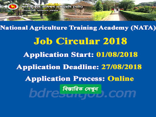 National Agriculture Training Academy (NATA) Job Circular 2018