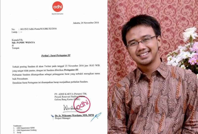 Surat SP3 PT Adhi Karya untuk Pandu Wijaya