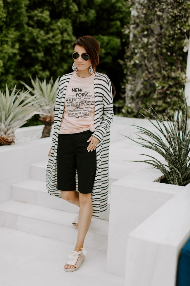 Long striped cardigan with bermuda shorts