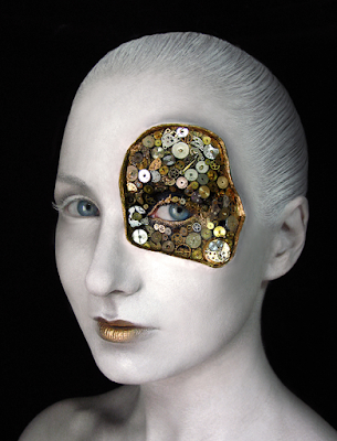 How to glue on gears to your face and body for a steampunk makeup look