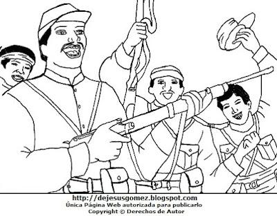 Ilustración de la Batalla de Tarapacá para colorear pintar imprimir. Dibujo de la Batalla de Tarapacá de Jesus Gómez