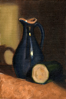 Oil painting of a blue sauce jug with half of a zucchini cut crossways.