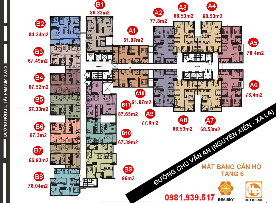 Mặt bằng căn hộ Bea Sky Nguyễn Xiển tòa A và B | Tầng 6