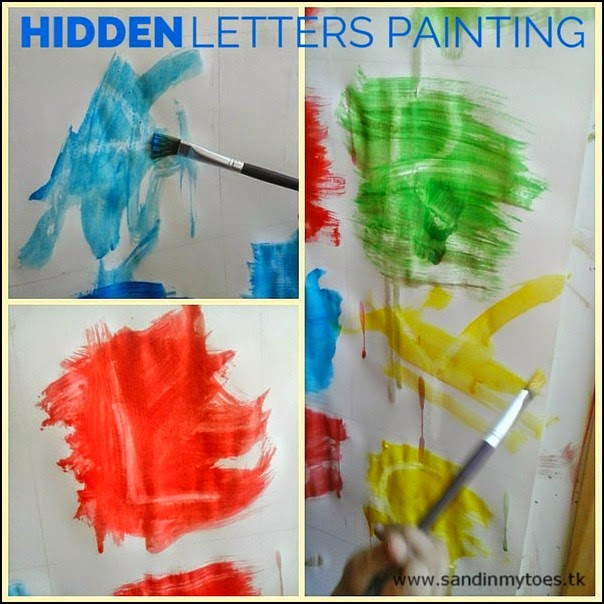Alphabet recognition activity using crayon resist painting