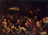 Miracle of the Loaves and Fishes by Francesco Bassano - Religious Paintings from Hermitage Museum