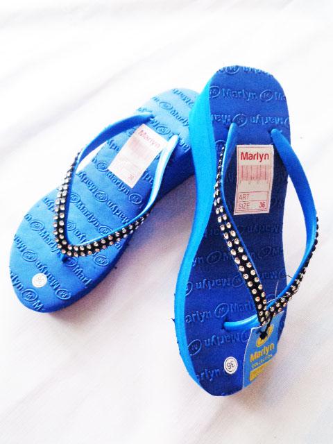 sandal Spon hak tinggi marlyn mute biru