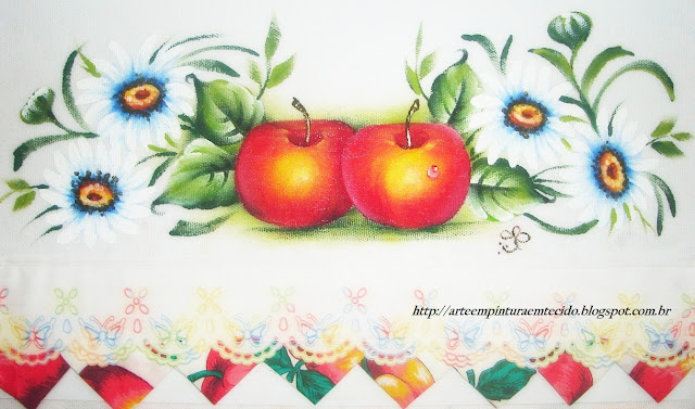 pintura em tecido pano de prato flores e frutas maçã e margaridas