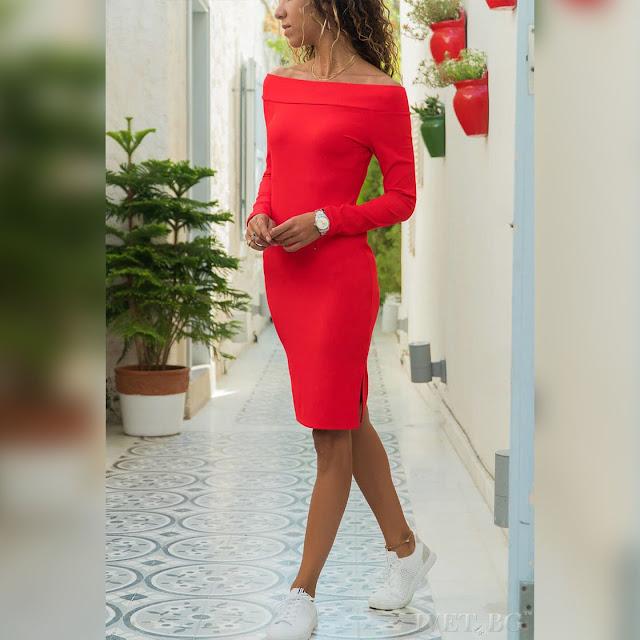 Μακρυμάνικο κόκκινο φόρεμα MAIDA