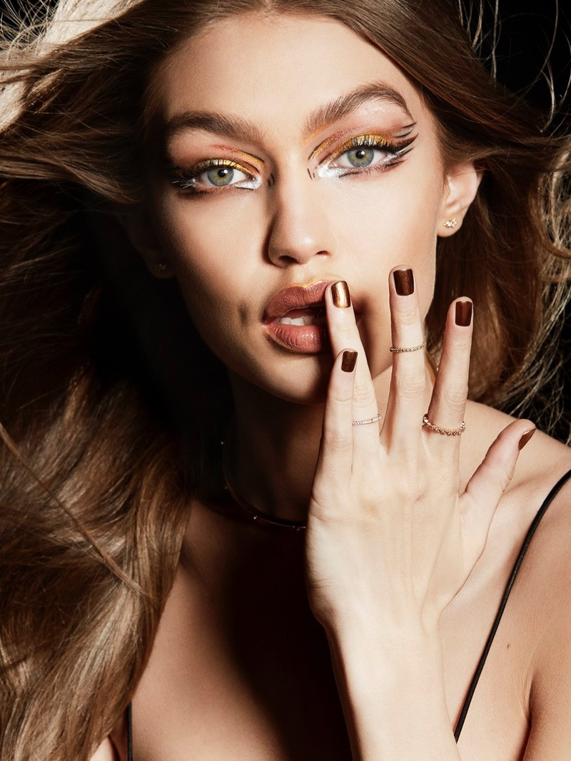 Gigi Hadid wears metallics from Maybelline