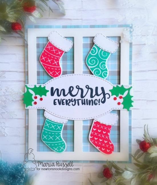 Christmas Stockings Card by Maria Russell | Stylish Stockings Stamp Set by Newton's Nook Designs #newtonsnook #handmade