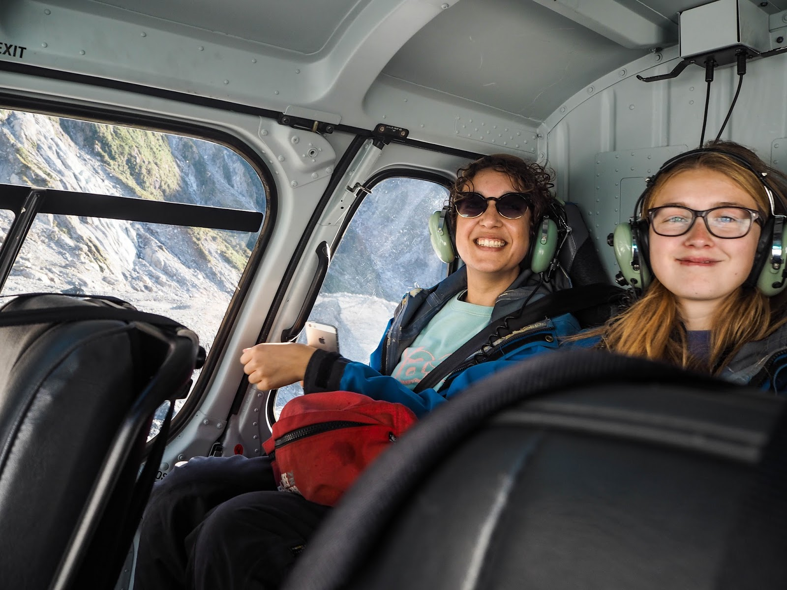 Travel blogger in a helicopter