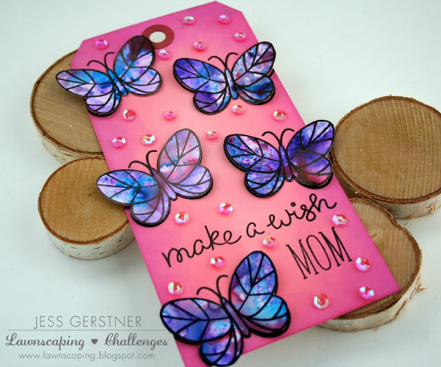 Butterfly Birthday Tag by Jess Crafts with Lawn Fawn Flutter By