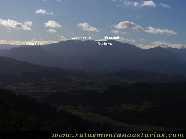 Vista de Monsacro, Gamoniteiru y Gamonal desde el Gorfolí